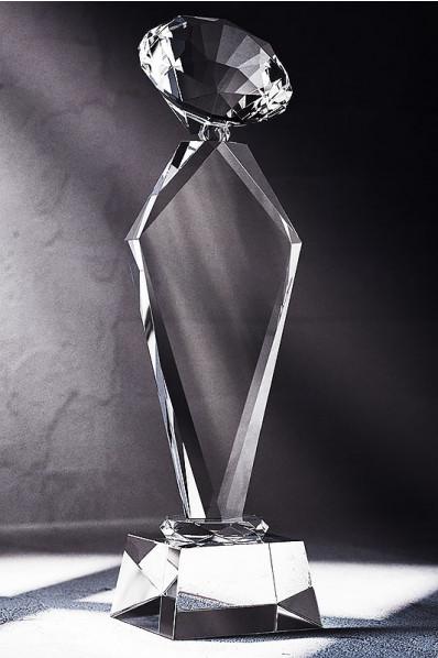 Trophée en verre : Diamant blanc