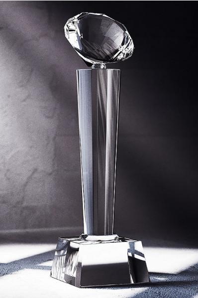 Trophée en verre : Pilonne + diamant