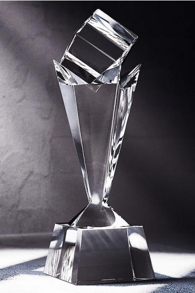 Trophée en verre : Colonne + cube