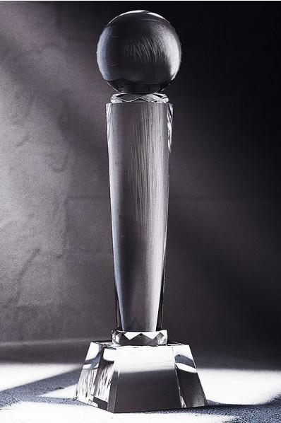 Trophée en verre : Pilonne + sphère