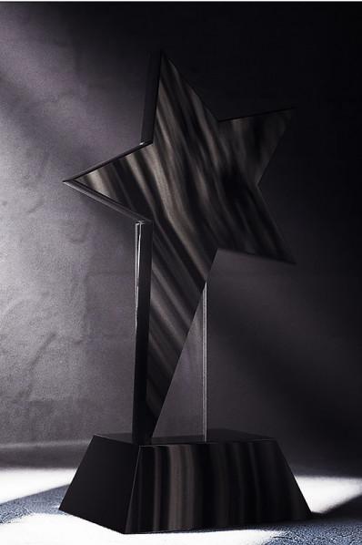 Trophée en verre : Etoile noir