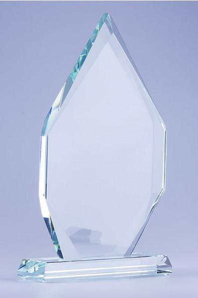 Trophée en verre : Plaque en pointe