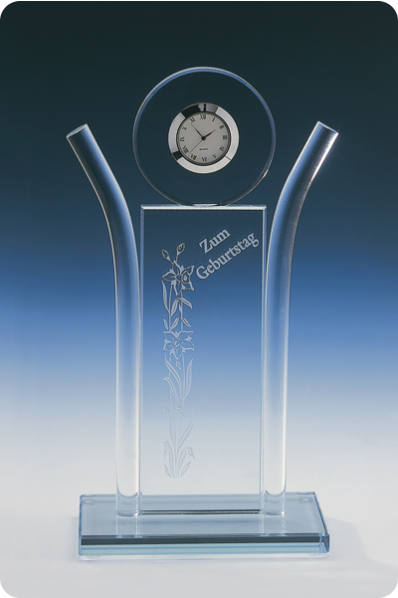 Trophée en verre : Horloge à plaque symétrique