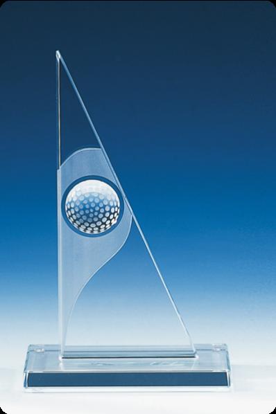 Trophée en verre : Plaque triangulaire avec une balle