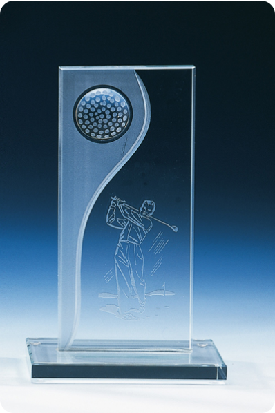 Trophée en verre : Plaque rectangulaire golf