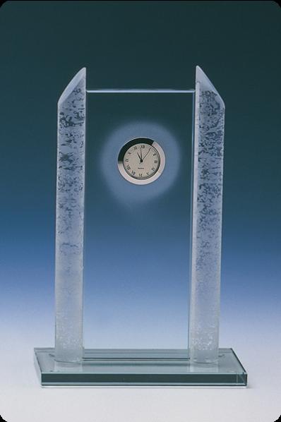 Trophée en verre : Plaque horloge 2