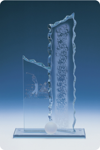 Trophée en verre : Plaque gelé