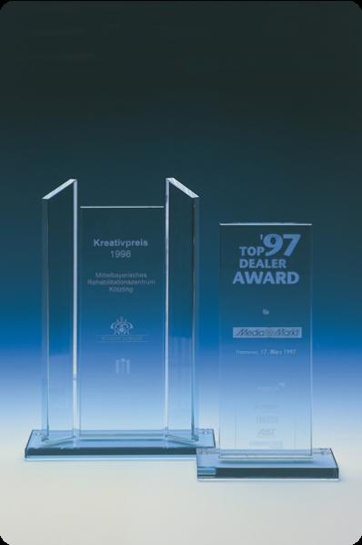 Trophée en verre : Trophée avec piliers latéraux