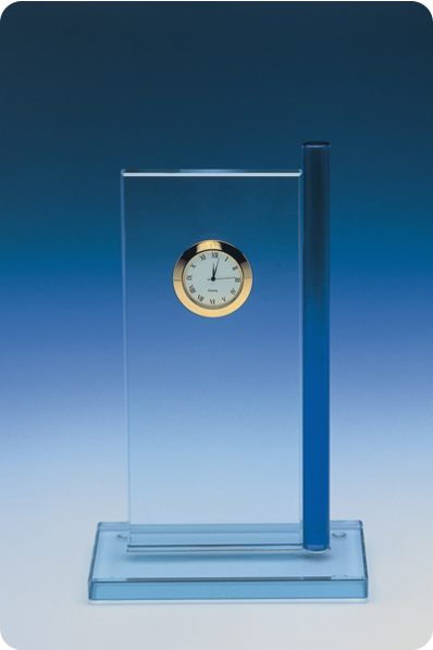 Trophée en verre : Plaque horloge