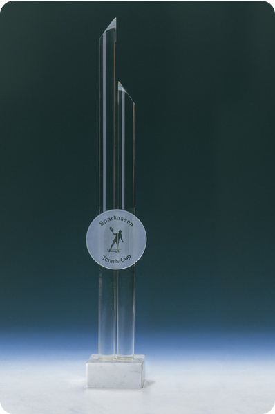 Trophée en verre : Deux cylindres