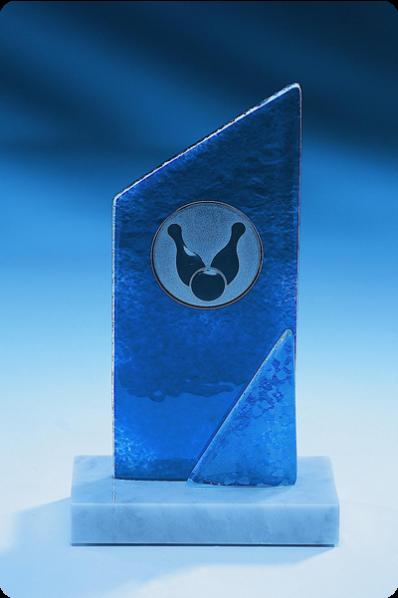 Trophée en verre : Bleu givré