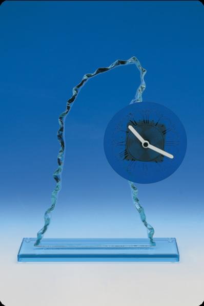 Trophée en verre : Plaque avec montre