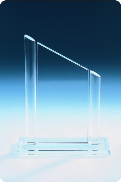 Trophée en verre : Plaque et colonne