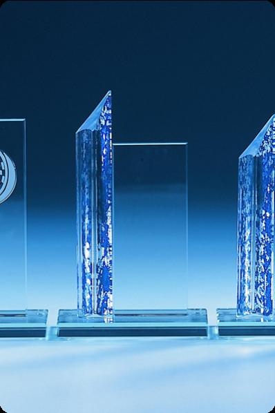 Trophée en verre : Plaque avec colonne bleu