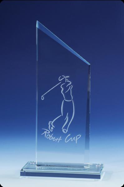 Trophée en verre : Plaque trapézoïdale en verre.