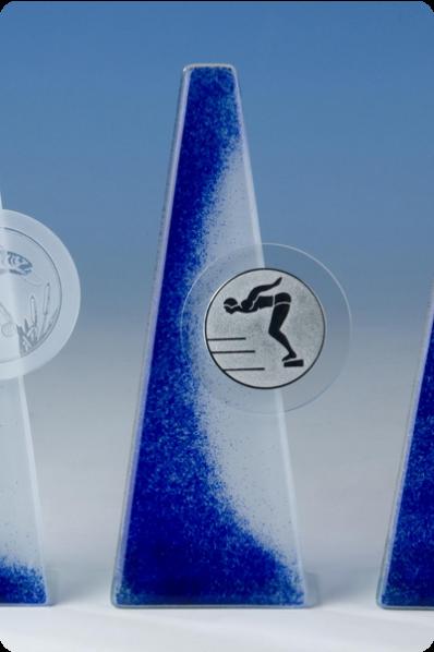 Trophée en verre : Prisme en verre bleu