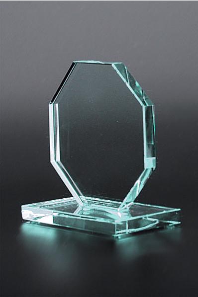 Trophée en verre : Plaque hexagonale