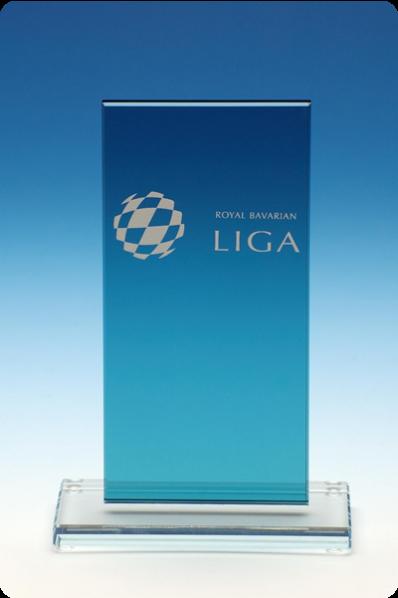 Trophée en verre : Plaque bleu