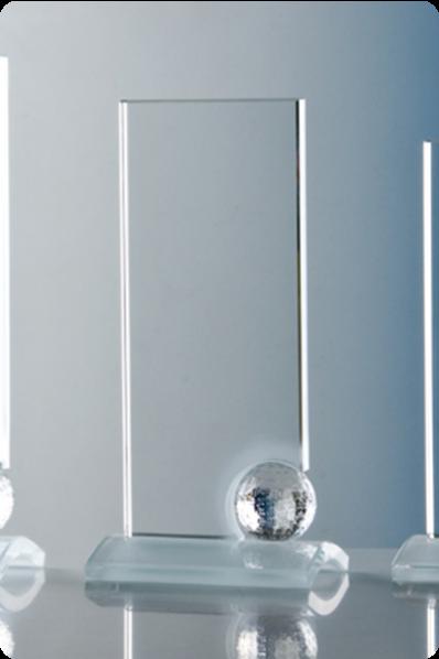 Trophée en verre : Plaque avec ballon en verre