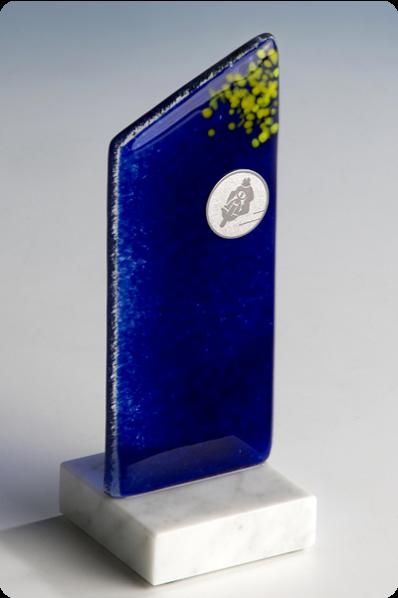 Trophée en verre : Fusion en verre bleu