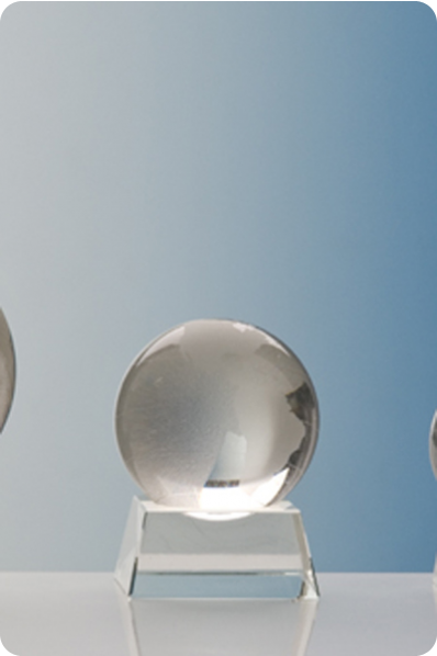 Trophée en verre : Boule en verre