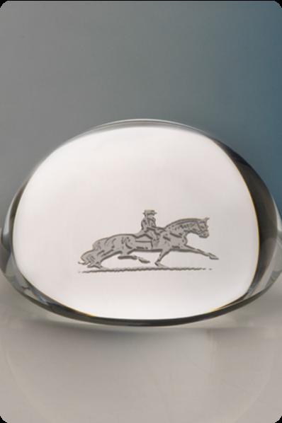 "Trophée en verre : Plaque de cristal ""Galop"""