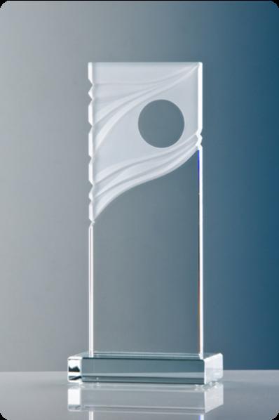 Trophée en verre : Plaque en verre avec ornement