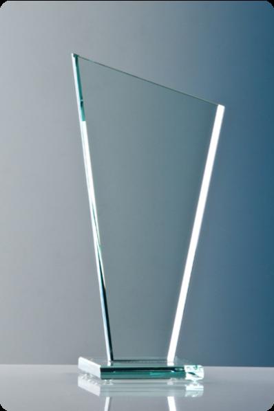 Trophée en verre : Plaque trapézoïdale.