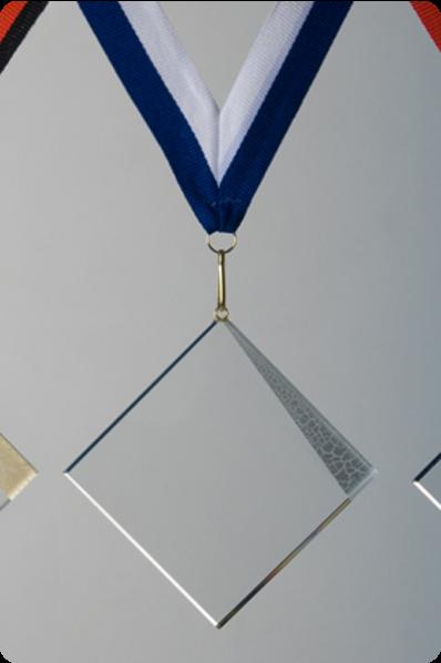 Trophée en verre : Médaille en verre