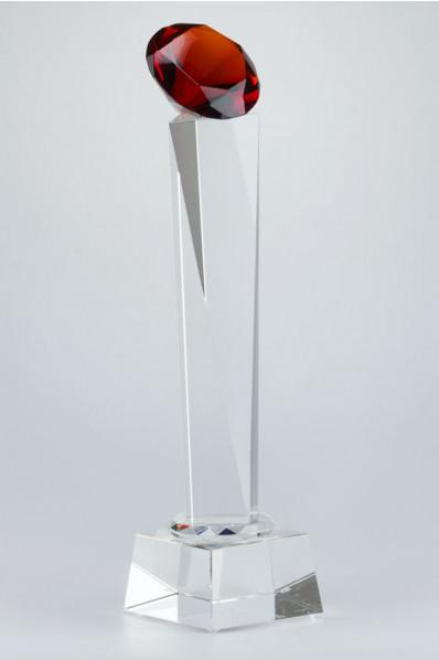 Trophée en verre : Diamant rouge