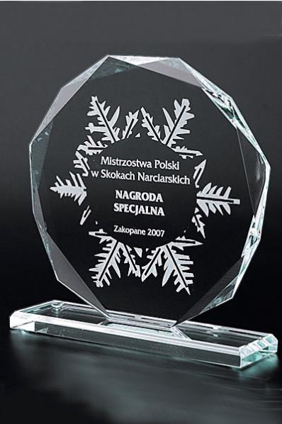 Trophée en verre : Plaque octogonale