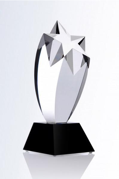 Trophée en verre : Etoile sur piédestal