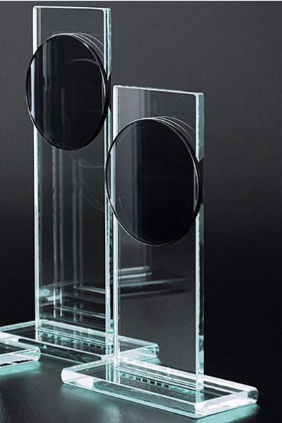 Trophée en verre : Plaque médaille