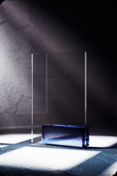 Trophée en verre : Carré en verre