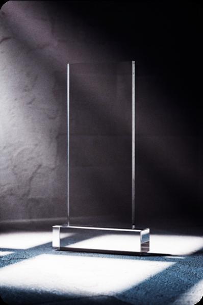 Trophée en verre : Simple plaque en verre