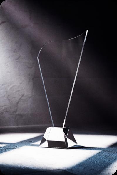 Trophée en verre : Harpe en verre