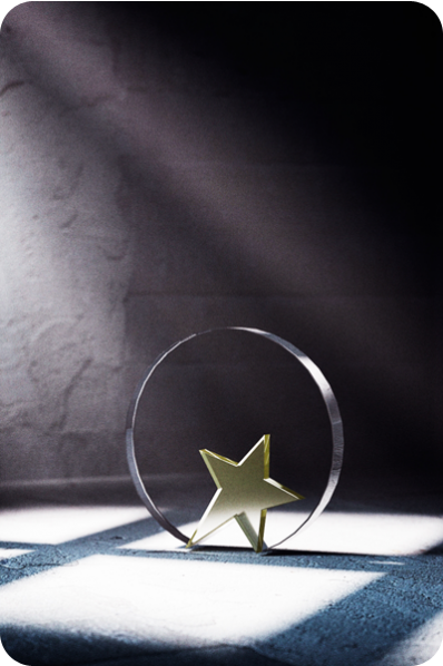Trophée en verre : Plaque ronde + étoile