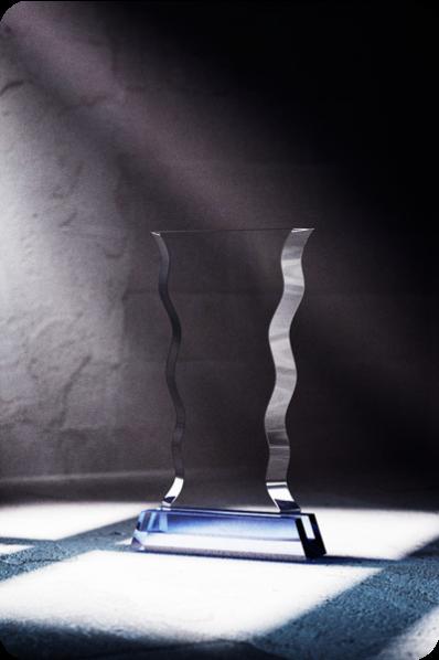 Trophée en verre : Ondulé