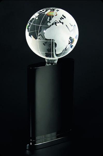 Trophée en verre : Globe terrestre