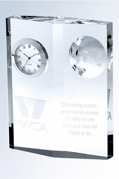 Trophée en verre : Bloc + horloge