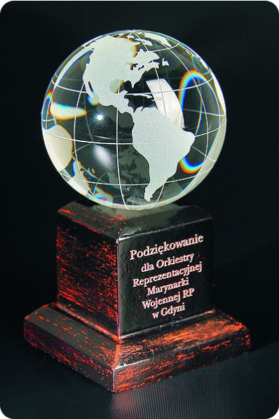Trophée en verre : Planète terre