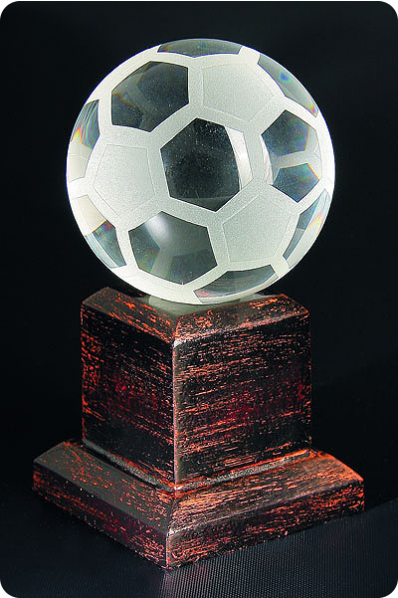 Trophée en verre : Ballon football