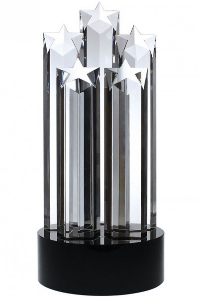 Trophée en verre : 5 étoiles