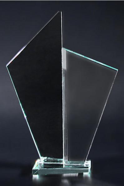 Trophée en verre : Double plaque