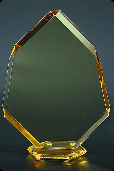 Trophée en verre : Pointe colorée