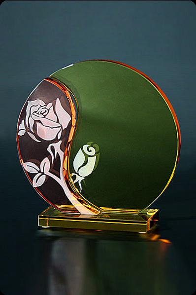 Trophée en verre : Plaque rose