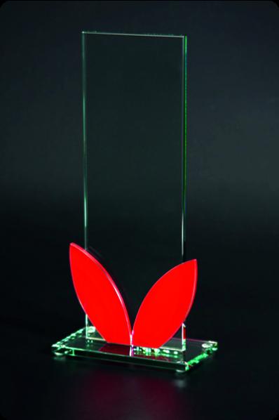 Trophée en verre : Plaque avec pétales