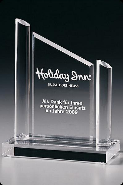 Trophée en verre : Plaque avec pilier
