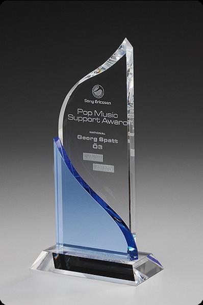 Trophée en verre : Double plaques