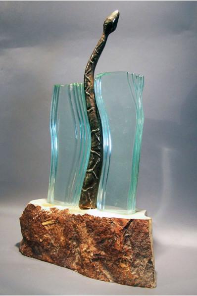 Trophée en verre : Serpent
